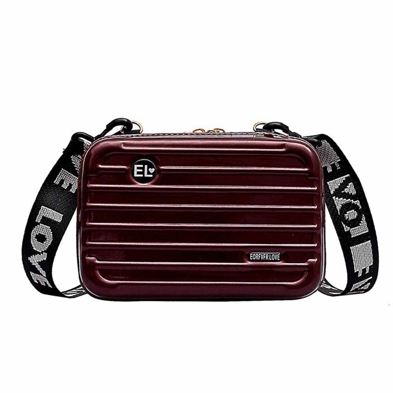 Charm  New Mini Hard Suitcase Wristlet Crossbody Handbag Makeup Storage Box Messenger Box Girl Small Bag Mini Waterproof Messenger Bag (4.7X6.7X2In)