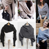 2019 Fashion Women Knitted Sweater Tops Scarf with Sleeve Wrap Winter Warm Shawl Scarves