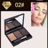 3 Colors Nude Eye Shadow Eyebrow Powder Palette With Makeup Brush Mirror