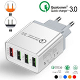 4 Port Quick Charge 3.0 Fast Mobile Phone Charger EU / US Plug Wall USB Charger Adapter for Smart Devices 5 Colors