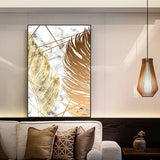 Nordic Abstract Golden Leaf Vintage Wall Art Canvas Painting Art Poster Print Wall Picture For Home Living Room Decor (No Frame)