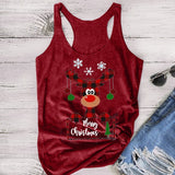 Cute Tank Top Women Fashion Casual Christmas Elk Printed Sleeveless T-shirt Plus Size Yoga Gym Workout Tops S-XXXXXL