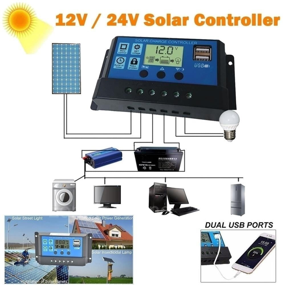 2020 New 12V/24V 5A/10A/40A/50A/100A MPPT LCD Auto Work Solar Charge Controller Cell Panel Charger PWM Dual USB Output Charger Solar Panel Regulator