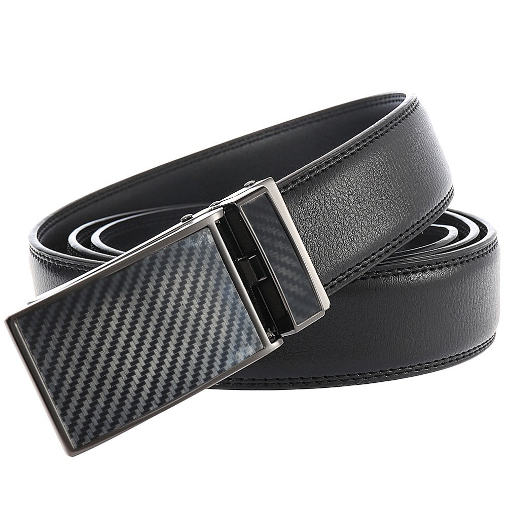 New Style Men's Gifts Luxury Business Replaceable 3.1cm Automatic Buckle Belts Genuine Leather Belts Casual Jean Belt Adjustable Long Waist Belt Length: 50cm-170cm (leather Color:black/brown/black&red Belt)