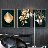 Abstract Golden Plant Leaves Wall Poster Print Modern Style Canvas Painting Art Living Room Decoration Pictures Home Decor