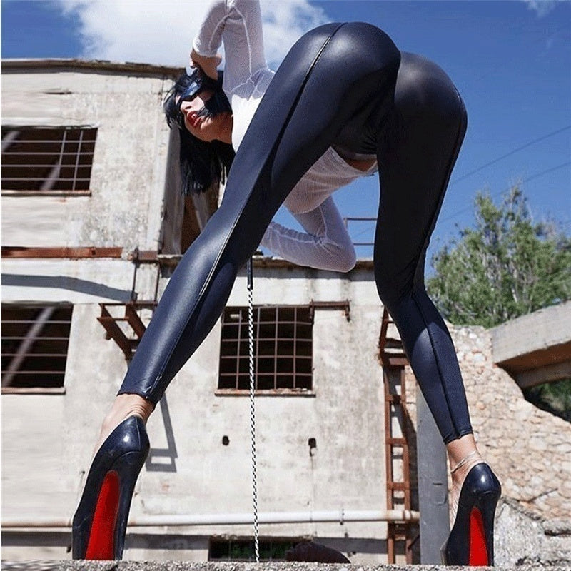 Women PU Leather Legging High-waist Stretch Material Pencil Pants Black Footless Leggings Plus Size XS-8XL