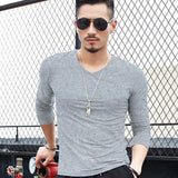 Men's Casual Winter Warm V-neck Long Sleeved T-Shirt Comfy Slim Fit Solid Color Soft Stretch Basic Tee Shirts Tops Manche longue Langarm