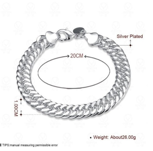 Mens Jewelry Set Thick Tight 925 Solid Sterling Silver Bracelet