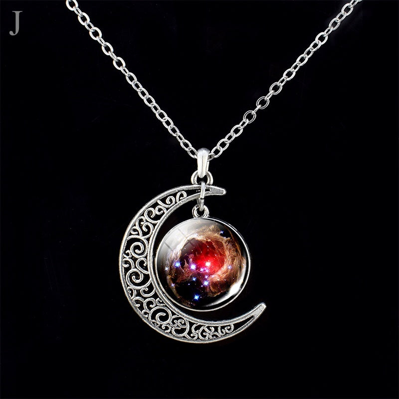 Crescent Moon Necklace Universe Galaxy Planet Jewelry Space Nebula Moon Solar System Star Fashion Pendant Accessories