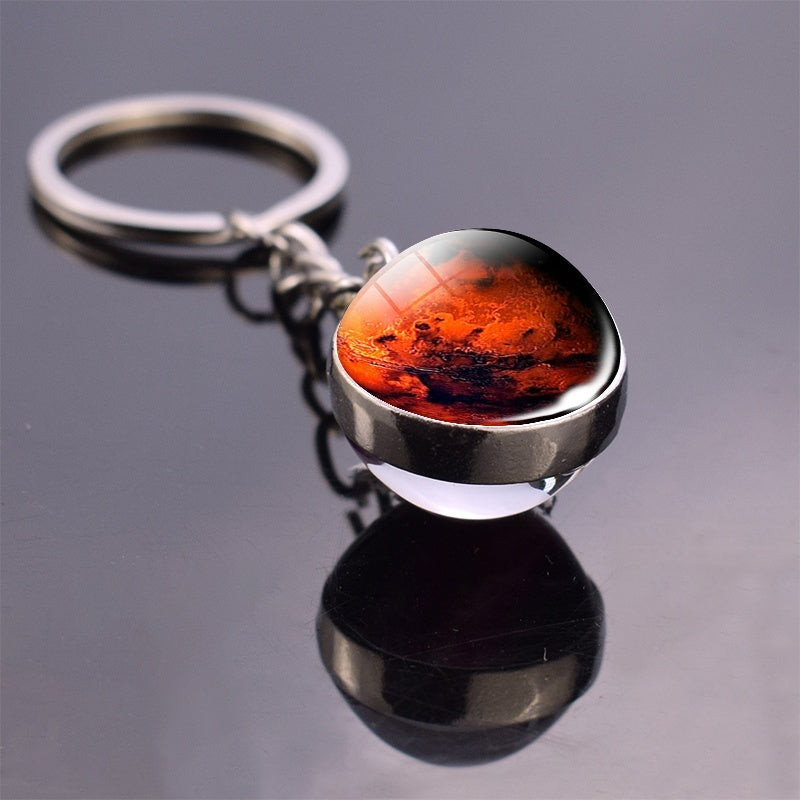 Earth Glass Ball Key Chain Full Moon Double Side Keyring Solar System Planet Galaxy Nebula  Sun Mars Jupiter Saturn Charm Keyholder Jewelry