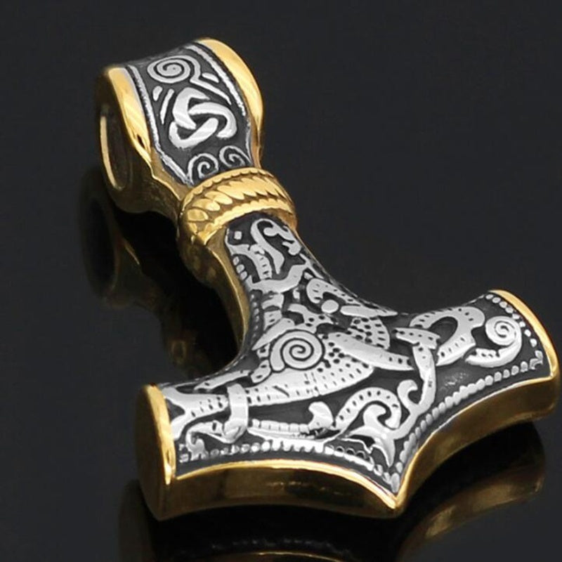 Men's  Stainless Steel Thor Hammer Amulet King Chain Necklace for Men