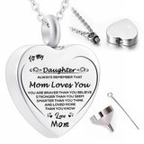 Stainless Steel Heart Urn Necklace Mom Memorial Cremation Jewelry for Ashes Pendant Keepsake