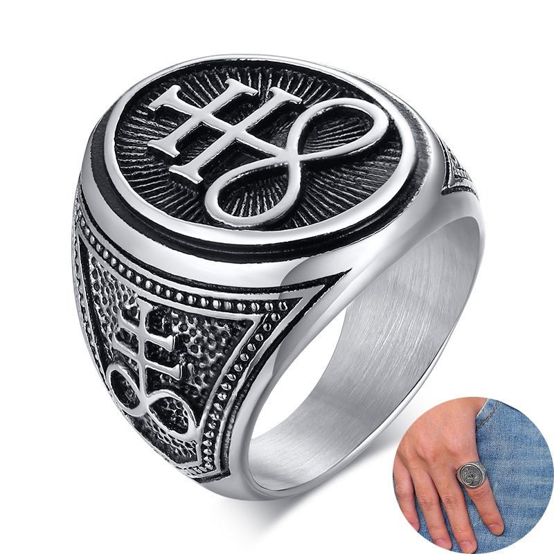 Stainless Steel Rings for Men Sigil of Lucifer Seal of Satan Devil Demon Symbol Jewelry