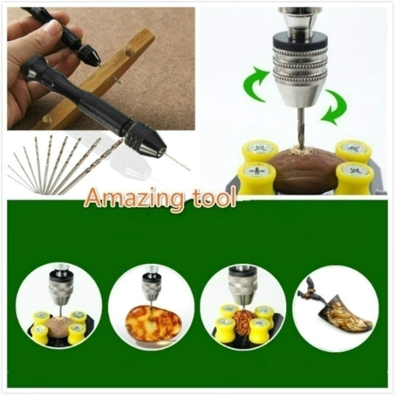 Creative Mini Micro Aluminum Hand Drill With Keyless Chuck +10 X Twist Drills Rotary Tools