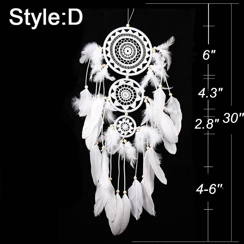 1PC Handmade Woven Wall Hanging Decoration White Dream Catcher With Feather Wedding Party Hanging Decor