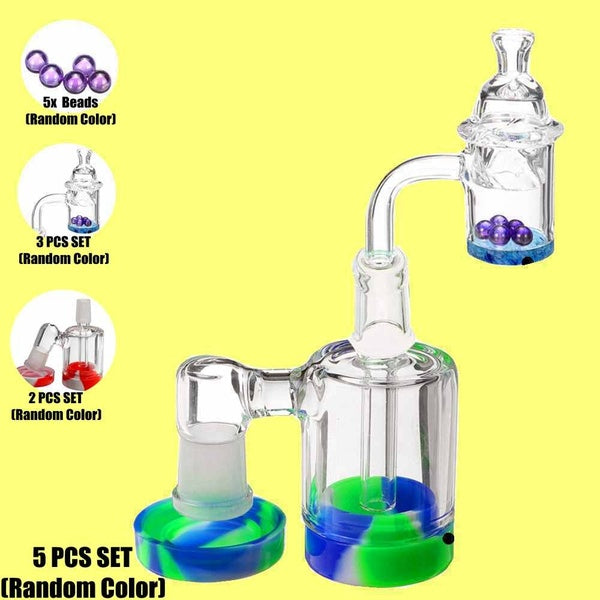 [5/3/2/1 PCS SET]14mm With Quartz Banger Cap Beads 45/90 degree Glass Adapter Glass Joint Glass Collector Reclaim Catcher Bubbler