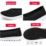 Womens Mesh Sneaker Slip On Causal Flats Shoes Breathable Ultra-light Plus Size 35-42