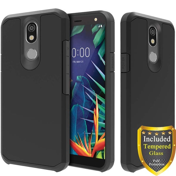 LG Aristo 4+/ Aristo 4 Plus Case/LG Prime 2/LG Arena 2/LG K30 2019/LG Escape Plus/LG Tribute Royal/LG Journey, with Full Cover Tempered Glass Screen Protector, Hybrid Protective TPU Case