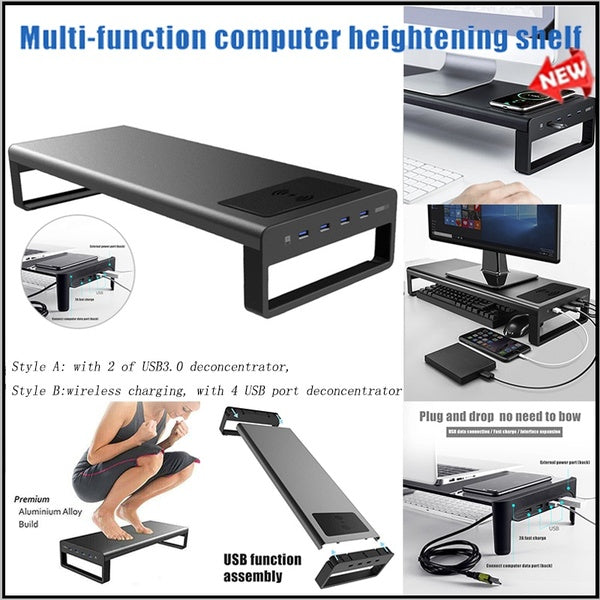 New Smart Computer Base Wireless Charging Aluminium Monitor Stand Riser With 2/4USB3.0 Port Support Transfer Data and Charging, Keyboard and PC or Mouse Storage Desk (Black)