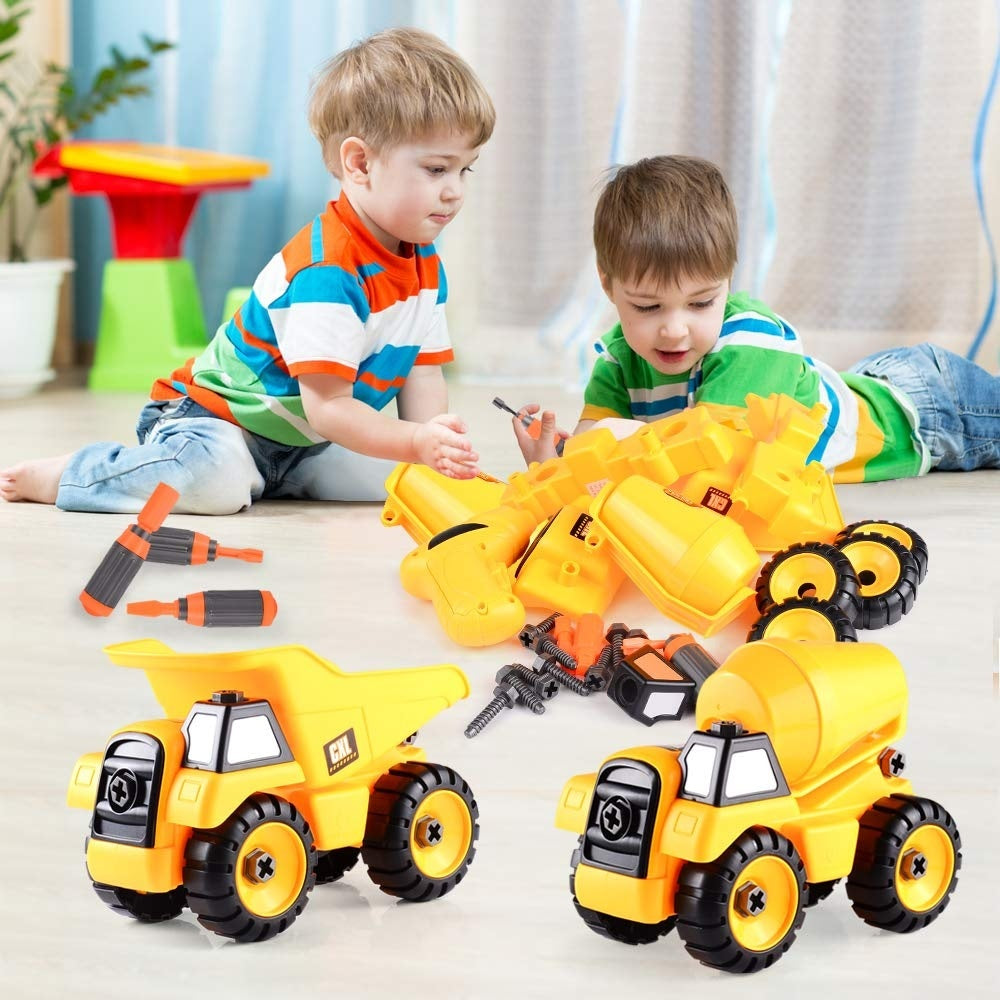 Take Apart Toys Set - Construction Trucks - Dump Truck, Cement Truck  Stem Learning Educational Build It Yourself with Battery Powered Drill - Construction Tool Engineering Set
