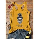 5 Color Mom Life Letter Shirt Girl Printed Shirt Loose Casual Tank Shirt O-neck Vest Summer Fashion Women Girl Simply Shirt Travel Walking Shirt Cool Color Vest Plus Size XS-5XL
