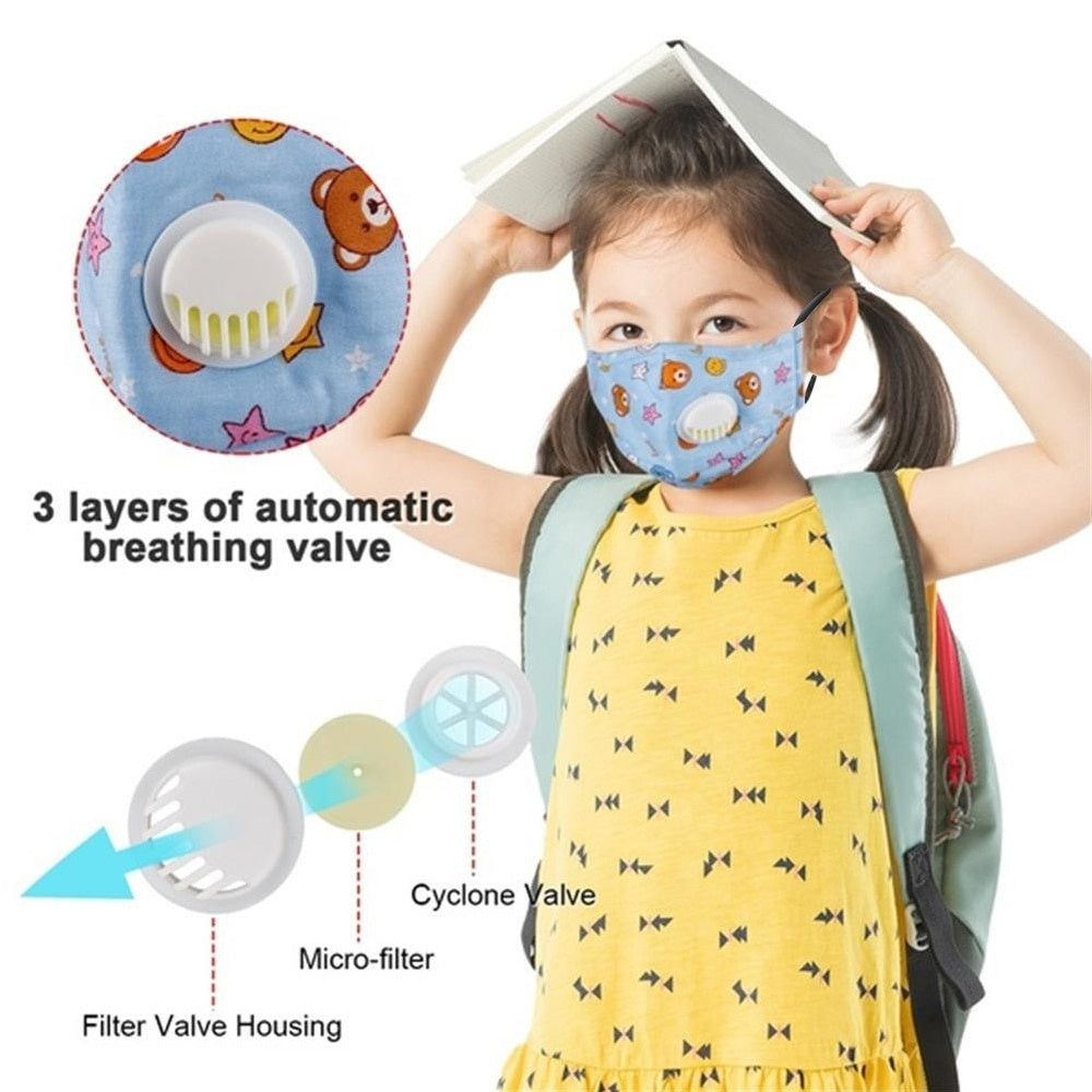 Fast Delivery Reusable Kids Children Mask with Filters Mouth Mask Anti-Fog Haze Dust Pm 2.5 Face Mask Breathable Valves Kids Mask