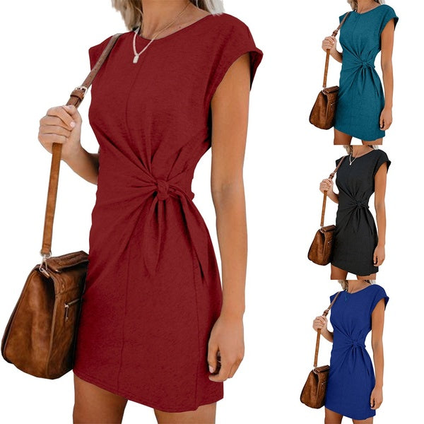 Fashion Summer Round Neck Dress Short Sleeve Loose Bandage Dress Tunic Casual Solid Mini Dress