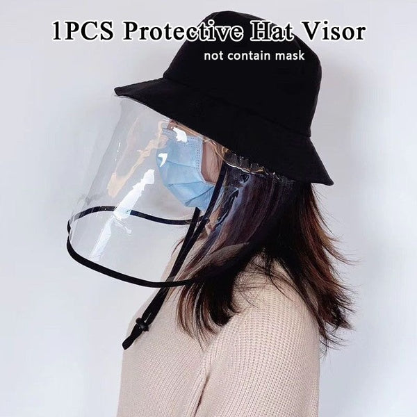 1 PCS Anti-fog Panama Hat Transparent Anti Droplet Dust-proof Protect Full Face Covering Mask Hat Visor Shield