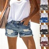 Summer Women's Fashion High Waist Denim Shorts Blue Jeans Ripped Casual Pants