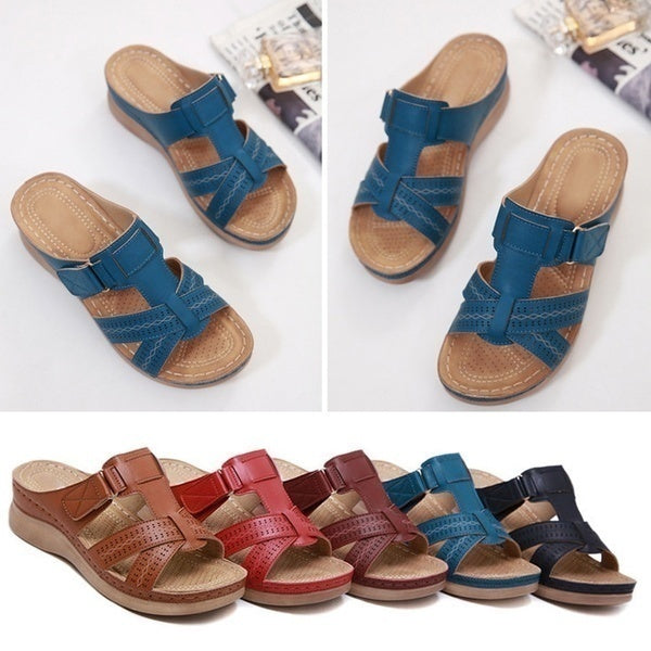 2020New Women Slippers Female Vintage Sandals Slip on Wedges Shoes Buckle Strap Ladies Sandals Comfortable Home