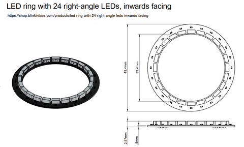 LED ring with 24 right-angle LEDs, inwards facing