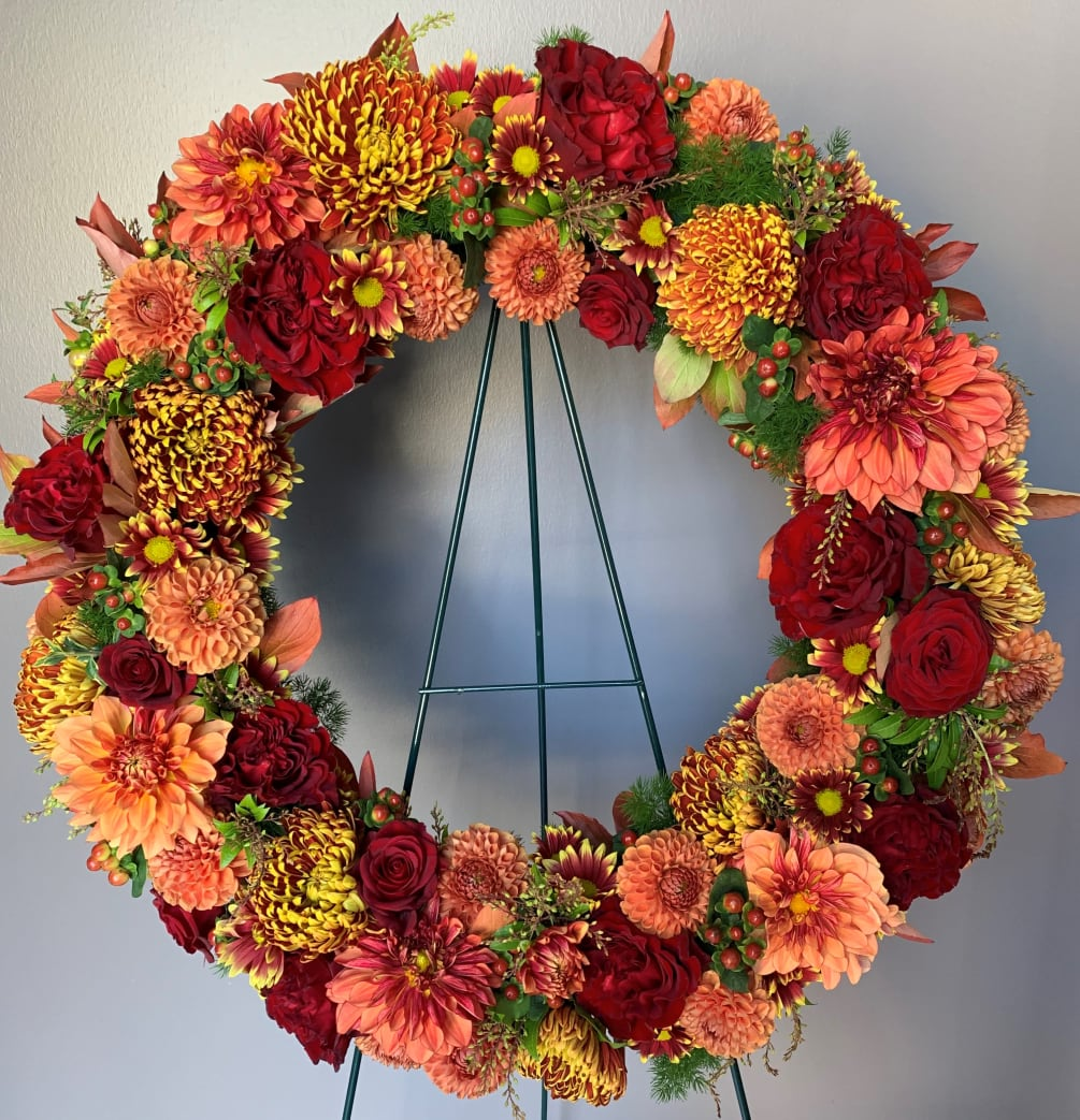 Sympathy Wreath - Autumn Glory - Daily floral delivery from Botanica Floral Design