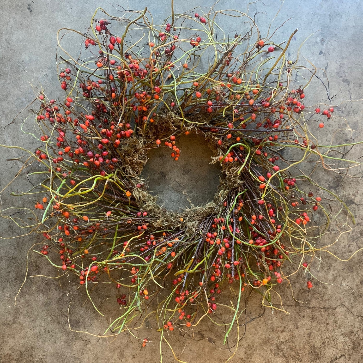 Autumnal Rose Hip & Willow Wreath - Daily floral delivery from Botanica Floral Design