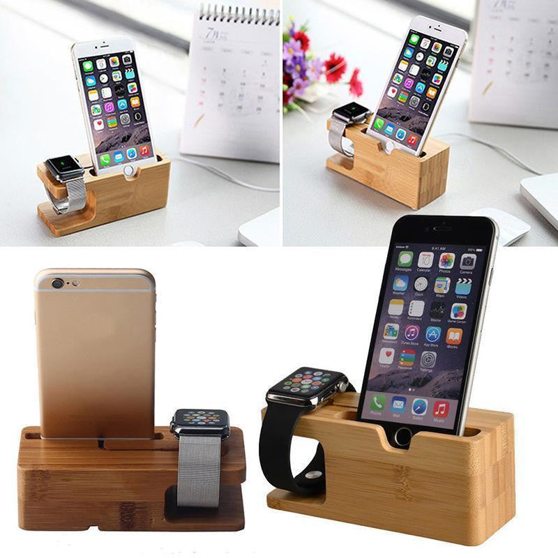 Bamboo iPhone and Apple Watch Charging Dock Station