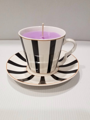 Teacup and Saucer - Handpoured Soy Candle - Retro- White Black Stripes