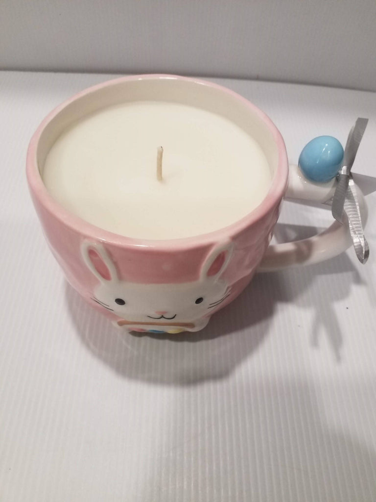 Soy Candle Mug - Bunny/Rabbit-Handpoured - Pink - Bunny with Basket