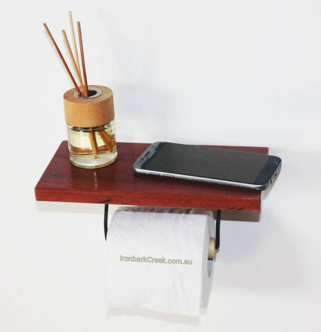 Toilet roll holder mahogany timber shelf for mobile