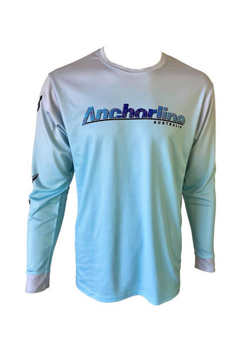 Diver Fishing long sleeved Shirt pale green and white