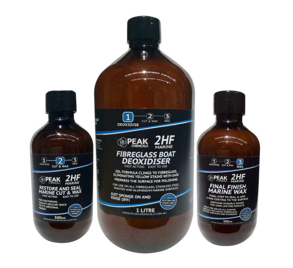1 x 300ml Restore And Seal Marine Cut & Wax, 1 X 1 litre Fibreglass Boat Deoxidiser, 1 x 300ml Final Finish Marine Wax Bottle