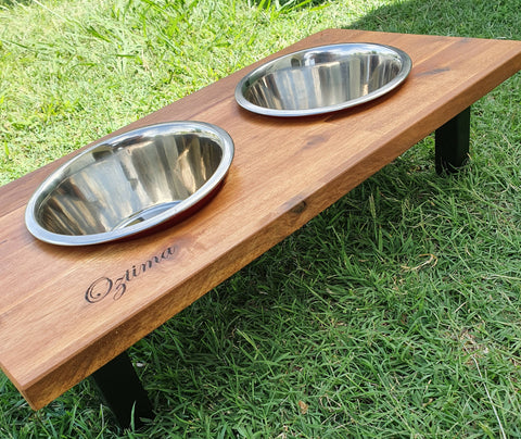 Elevated Dog Bowl Stand with Dishes