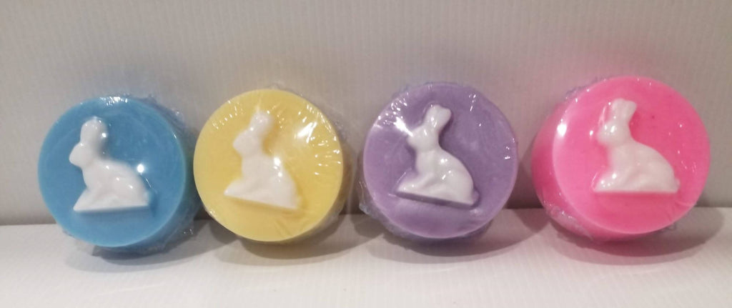Handmade Soap Guest Size Round with Bunny/Rabbit - Gift Pack - No Palm Oil