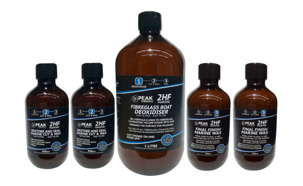 2 x 300ml Restore And Seal Marine Cut & Wax, 1 X 1 litre Fibreglass Boat Deoxidiser, 2 x 300ml Final Finish Marine Wax Bottle