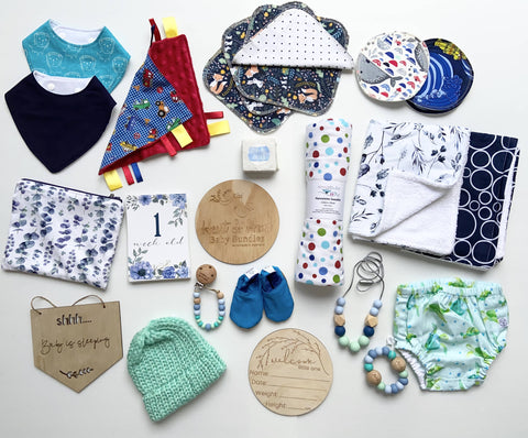 "Black & Grey, Assorted baby attire, booties, Beanie, Bibs, Diaper covers,‎ Flannelette's, Birth Coaster, Bottle coasters, Bracelets, necklace, soap, Purse, ""I'm a week old place cards"