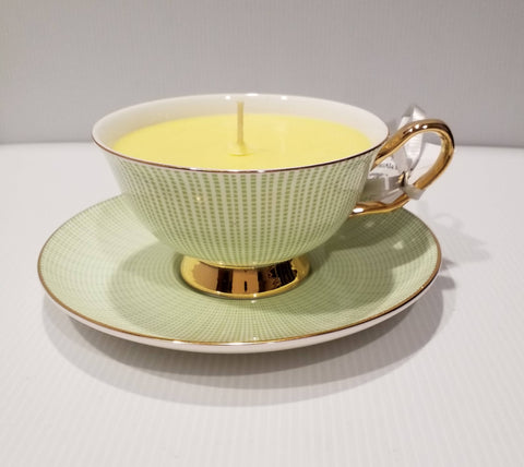 Teacup Soy Candle -Teacup and Saucer - Handpoured - Green/Gold - Lemongrass