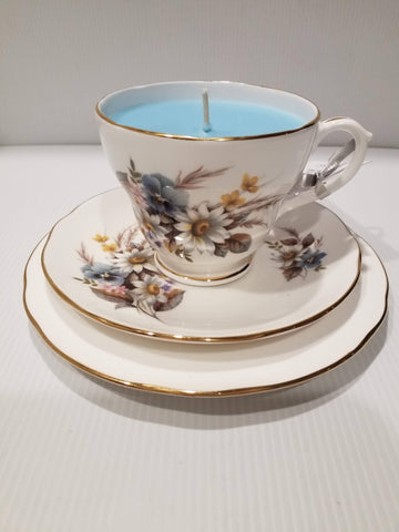 Teacup,Saucer & Plate - Vintage - Handpoured Soy Candle -White/Blue Flowers - Indigo Reef