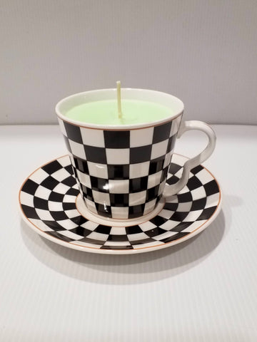Teacup and Saucer - Handpoured Soy Candle - Retro- White Black Check