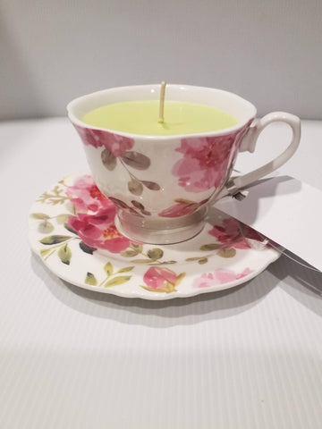 Teacup Soy Candle -Teacup and Saucer - Handpoured - Large Pink Flowers - Coconut and Lime