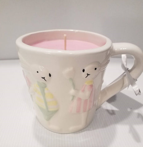 Soy Candle Mug - Bunny/Rabbit-Handpoured - White 2 Bunnies