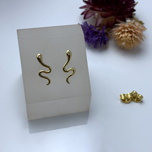 Load image into Gallery viewer, Gold Snake Stud Earrings