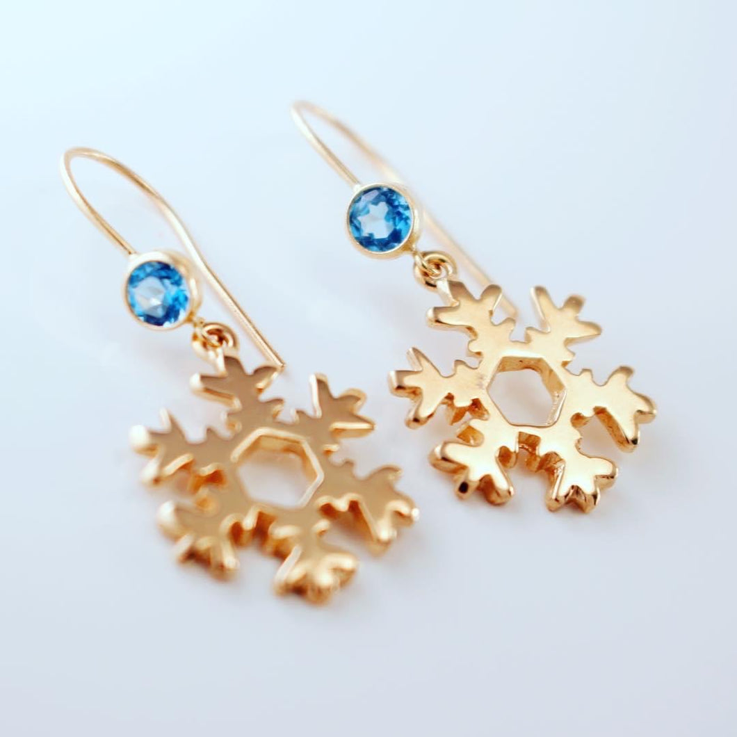 Gold Snowflake Topaz Earrings